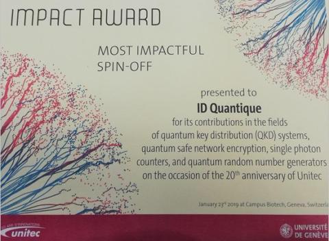 Impact award for ID Quantique image