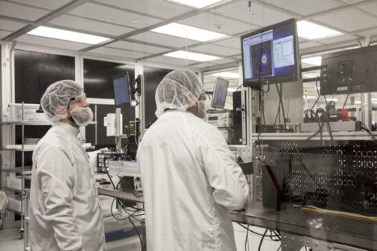Final testing in Access Laser clean room photo