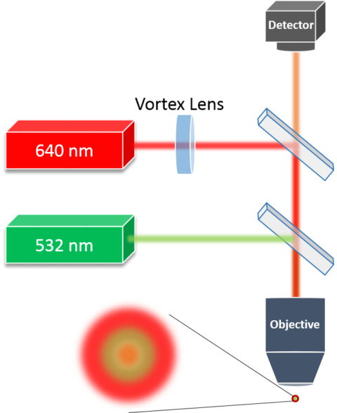 Image of schematic setup of STED microscope optical system